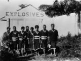 Picture relating to Cooktown - titled 'Group of South Sea Islanders? in front of the Cooktown Powder Magazine, ca. 1907'