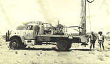 Picture relating to Simpson Desert - titled 'Bevan Waters-(right) CGG Drilling Rig'