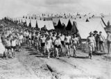 Picture relating to Caloundra - titled 'Soldiers camped on Battery Hill, Caloundra, ca.1940'