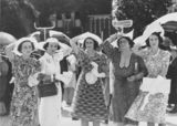 Picture relating to Brisbane - titled 'Five women at the races, Brisbane, 1938'