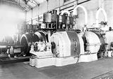 Picture relating to Kingston - titled 'Kingston Power Station. BTH Curtis 1500kW Turbo Alternator. Installed Oct 1927. Bellis and Morcom steam engines in background.'