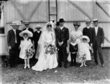 Picture relating to Nanango - titled 'Wedding party outside the Nanango Catholic church, ca. 1912'