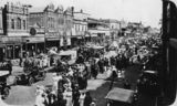 Picture relating to Toowoomba - titled 'Peace celebrations on Ruthven Street, Toowoomba, ca. 1919'