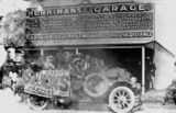 Picture relating to Charleville - titled 'Motor vehicle filled with people parked outside Herriman's Garage, Charleville, ca. 1921'