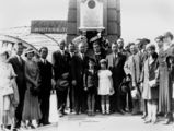 Picture relating to South Brisbane - titled 'Members of the Greek community in Brisbane at a wreath-laying ceremony on Anzac Day at Victoria Bridge, ca. 1936'