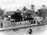 Picture relating to Charters Towers - titled 'Crowds gathered outside St Colomba's Catholic Church at Charters Towers about 1909'