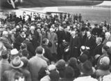 Picture relating to Pearce - titled 'Visit of Imperial Airways Airliner ASTRAEA on a survey flight for proposed air mail service. Distinguished visitors being formally welcomed by Sir George Pearce, Minister for Defence.'
