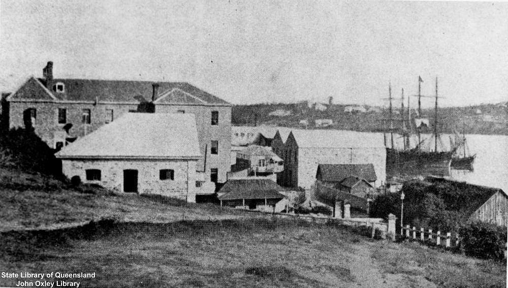 Picture of / about 'Brisbane' Queensland - Early view of buildings on Queens Wharf Road, Brisbane, ca. 1870