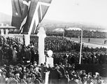 Picture relating to Parliament House - titled 'Royal Visit, May 1927 - Troops, spectators, official guests and Army Band outside Old Parliament House.'