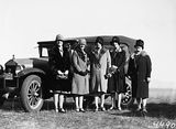 Picture relating to Campbell - titled 'Ladies and Fiat motor car at polo carnival, Campbell Park.'
