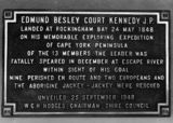 Picture relating to Rockingham Bay - titled 'Memorial plaque for Edmund Kennedy, Rockingham Bay, 1948'