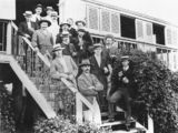 Picture relating to Bowen - titled 'Victor Trumper's Australian Cricket XI, on the steps of Woodlands, at Bowen, ca. 1909'