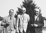 Picture relating to Canberra - titled 'Second Conference of 65th District of Rotary. Three of the executive committee outside Hotel Canberra.'