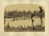 Picture relating to Gympie - titled 'Men reclaiming timber in the flooding Mary River, Gympie, 1870'