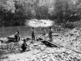 Picture relating to Mulgrave River - titled 'Panning for gold on the banks of the Mulgrave River, Queensland, ca. 1888'