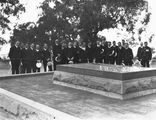 Picture relating to Duntroon - titled 'Visit to Canberra of Royal Navy Officers from HMS Renown - Party at the grave of General Bridges, Mount. Pleasant, Duntroon.'