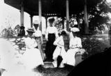 Picture relating to Queensland - titled 'Group of formally dressed women on the steps of a rotunda, 1900-1910'