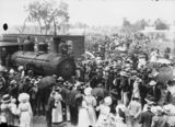 Picture relating to Pittsworth - titled 'Possibly the official opening of the new rail link between Pittsworth and Millmerran, 1911'