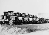 Picture relating to Kingston - titled 'FCC fleet of Thornycroft and other trucks at Kingston Depot'