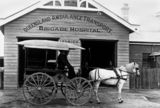 Picture relating to Ipswich - titled 'Horse-drawn ambulance in front of the Q.A.T.B. Hospital in Ipswich, ca. 1908'