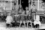 Picture relating to Yarraman - titled 'Serious faced group of school children at Lower Yarraman in 1908'