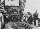 Picture relating to Johnstone River - titled 'Opening of the Daradgee Bridge over the Johnstone River for the railway link between Townsville and Cairns, 1924'