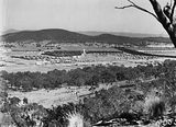 Picture relating to Braddon - titled 'North end of Braddon from Mt Ainslie. Ainslie Hotel on the left - Haig Park on the right.'