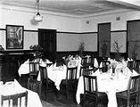 Picture relating to Barton - titled 'Brassey House dining room, Macquarie Street, Barton.'