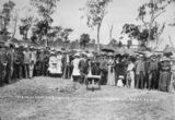 Picture relating to Cordalba - titled 'Hon. W. T. Paget turning the first sod of the Cordalba to Dallarnil railway extension, 1910'