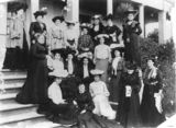 Picture relating to Queensland - titled 'Group of women photographed on the front steps of a building, 1900-1910'