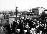 Picture relating to Canberra - titled 'Royal Visit, May 1927 - Part of the crowd at Canberra Railway Station awaiting the arrival of the Duke and Duchess of York.'