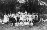 Picture relating to Bulwer - titled 'Large group picnic at Bulwer on Moreton Island, Queensland, ca. 1899'