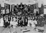 Picture relating to South Brisbane - titled 'Scandinavian masquerade ball, South Brisbane Town Hall, ca. 1906'