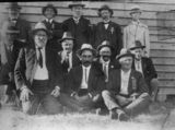 Picture relating to Kilcoy - titled 'Group of town identities photographed at the Catholic Church, Kilcoy, ca. 1916'