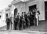 Picture relating to Parliament House - titled 'Group of pressmen visiting Old Parliament House'