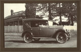 Picture relating to Toowoomba - titled 'Car parked outside the Alan home in Toowoomba, ca. 1925'