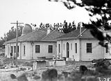 Picture relating to Mount Stromlo Observatory - titled 'Solar Tower, Observatory Buildings, under construction. Mount Stromlo Observatory.'