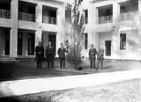 Picture relating to Parliament House - titled 'Group in the courtyard of Old Parliament House during the visit of Mr Barr (?), a member of the House of Commons.'