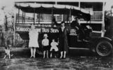 Picture relating to Maroochydore - titled 'Gill family with a bus from the first bus service in Maroochydore, Queensland, ca. 1929'