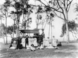 Picture relating to Lota - titled 'Family group at a Lota picnic ground, Brisbane, 1880-1890'