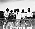 Picture relating to Kingston - titled 'Tennis players with trophy, at Kingston Courts, Eastlake.'