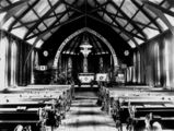 Picture relating to Mareeba - titled 'Inside the church built by brothers Marcus and William Brims, Mareeba, ca. 1904'
