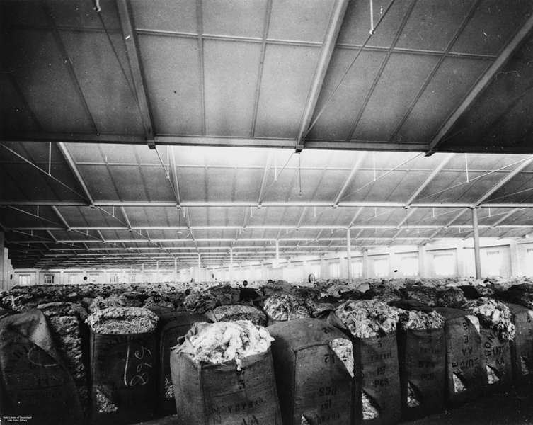 Picture of / about 'Brisbane' Queensland - Bales of wool in a Brisbane woolstore