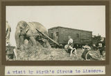 Picture relating to Lismore - titled 'Wirth's Circus elephant pulling a railway carriage, Lismore, ca. 1925'