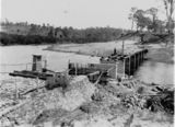 Picture relating to Mount Crosby - titled 'Rebuilding the Kholo Creek Bridge after flood damage, 1931'
