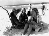 Picture relating to Burleigh Heads - titled 'Joan Suchting, Janette Wilson and Elspeth Wilson on the beach at Burleigh Heads, 1938'