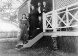 Picture relating to Bulwer - titled 'Unidentified family on the steps of their Bulwer home, Moreton Island, Queensland, ca. 1906'