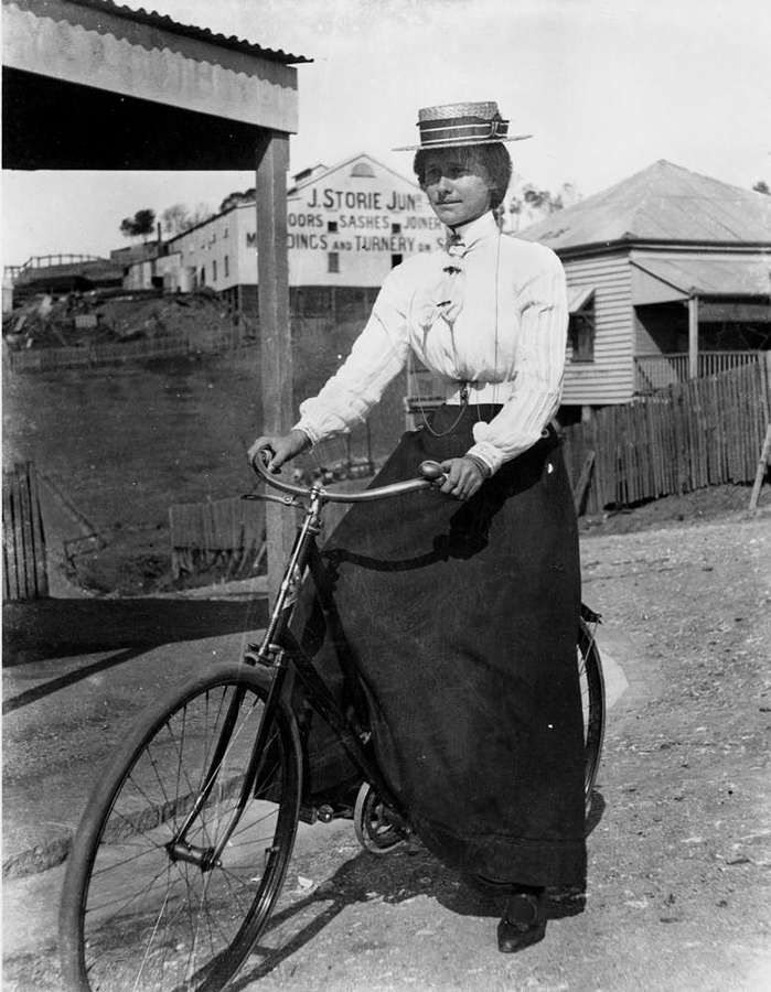 Picture of / about 'Brisbane' Queensland - Woman cycling in Brisbane, 1890-1900