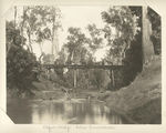 Picture relating to Beaudesert - titled 'Riders on the Logan Bridge below Tamrookum, 1903'