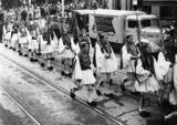 Picture of / about 'Brisbane' Queensland - Soldiers in Greek national dress marching in Brisbane, ca. 1941